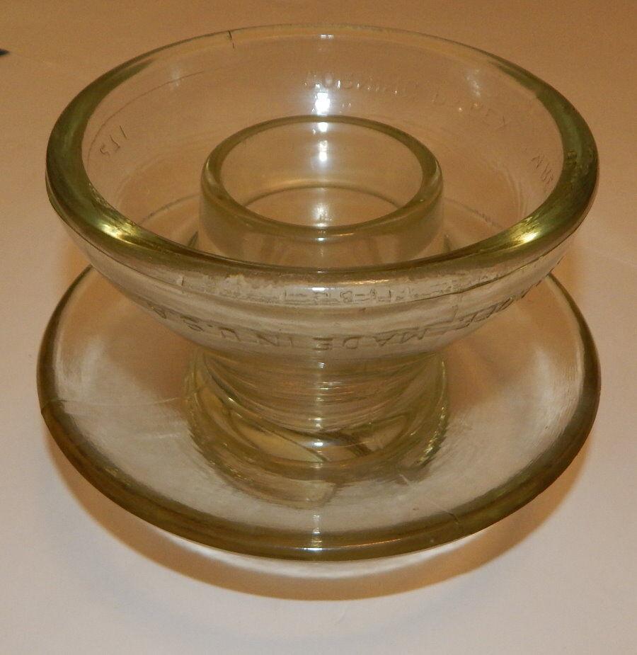 Croning Pyrex tillverkad i Förenta staterna Glass Electrical Insulator 271 R16982