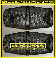 Two Vinyl Coated Metal Minnow Traps 2 Traps Catch Your Own Bait Free Ship