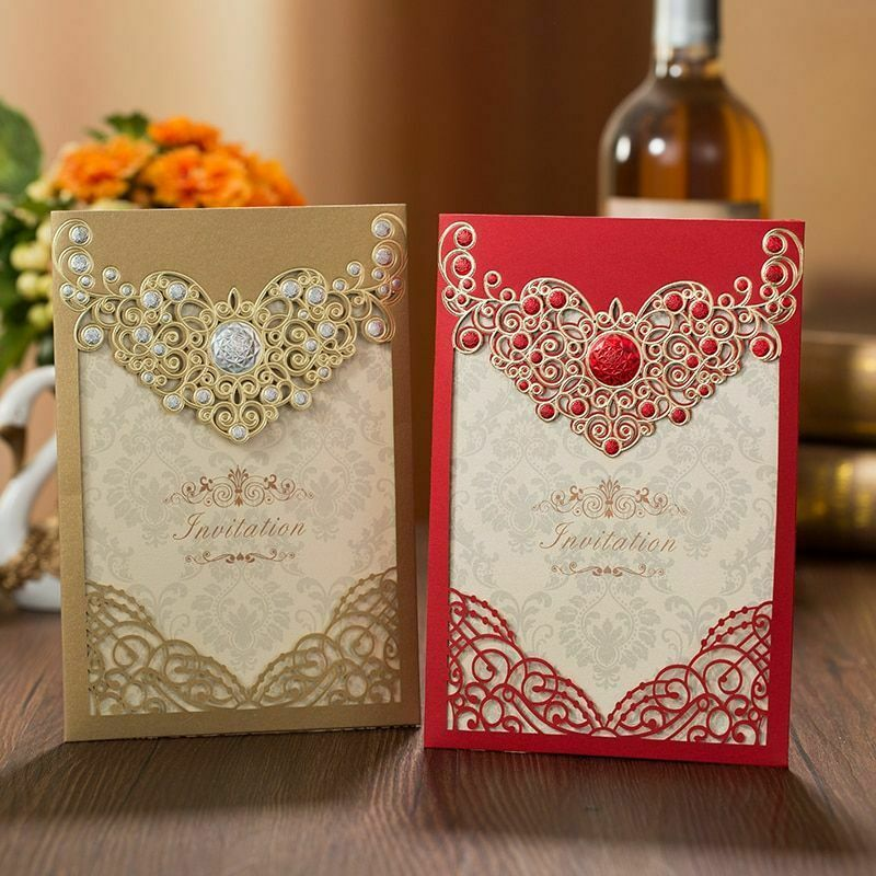 Laser Cut Crown Floral Wedding Invitations Greeting Cards Wedding Favor Supplies