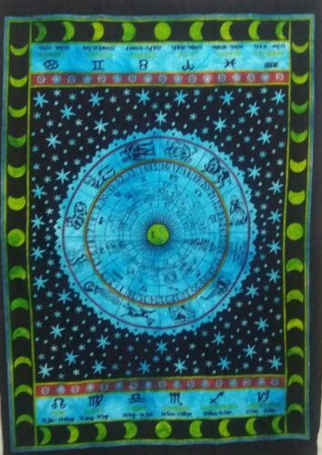 Tapestry Tie Dye Hippie Astrology Yoga Mat Indian Mandala Decor Zodiac Throw Art