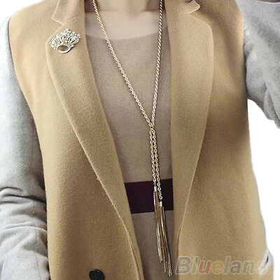 Europe Charismatic Charms Gold Pleated Tassel Long Sweater Chain Necklace B87K