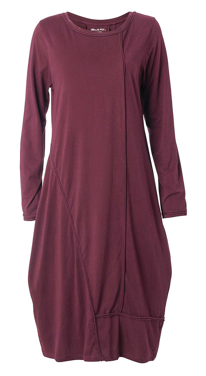 ULTIMATE MIKS JERSEY KLEID BALLONFORM GR.50 52 (3XL) BORDEAUX LANGARM