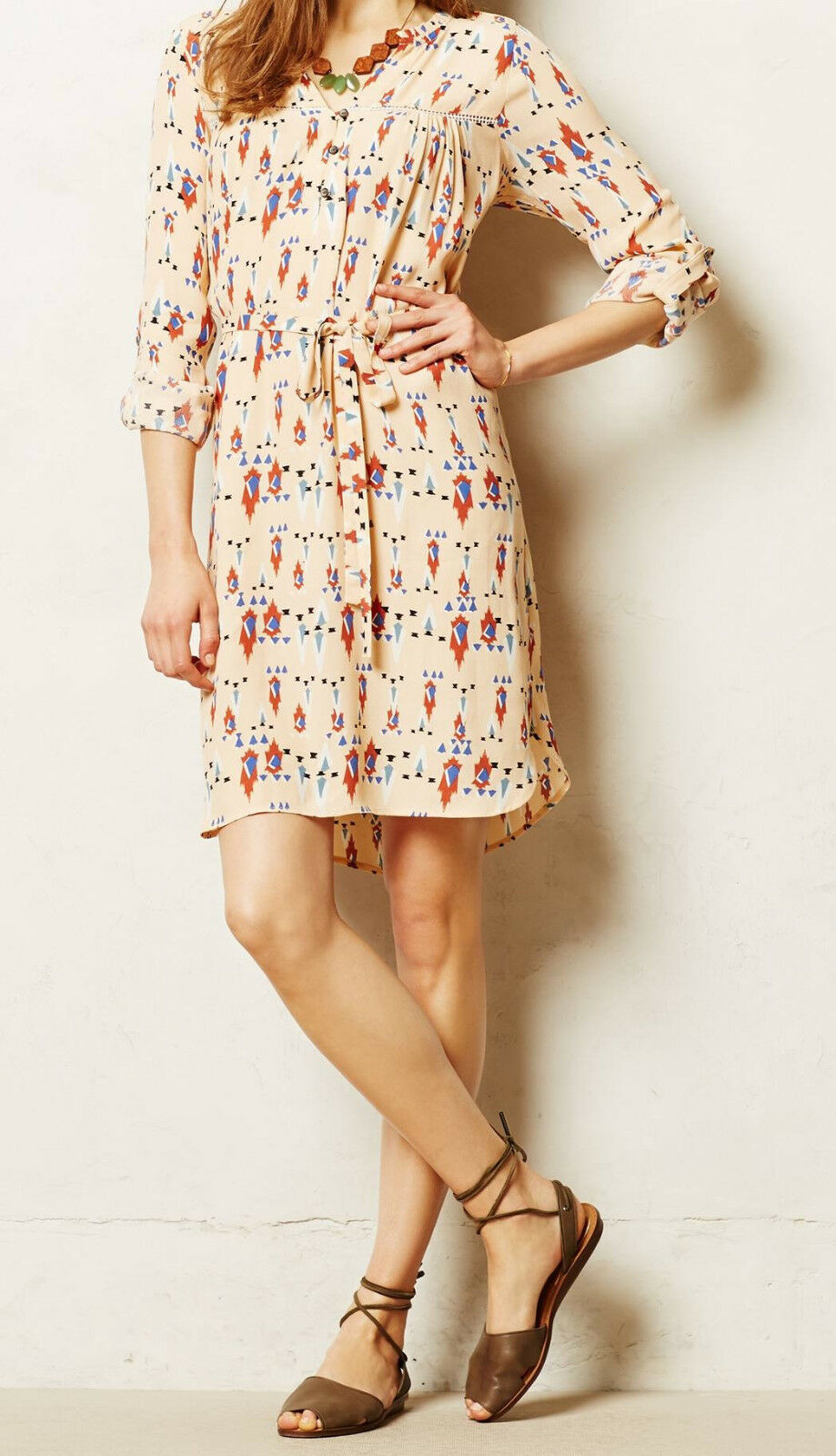 Dolan Wanderlust Dress Größe Medium Neutral Motif NW ANTHROPOLOGIE Tag