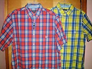 NWT-NEW-mens-plaid-CHAPS-classic-easy-care-s-s-casual-shirt-55-retail