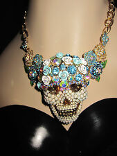 Betsey Johnson SKULLS AND ROSES BLUEISH SKULL PAVE STATEMENT NECKLACE