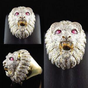 0e1351c01a4dd Biker Men's Vintage Rings Gold Stainless Steel Lion Head Ring Band ...