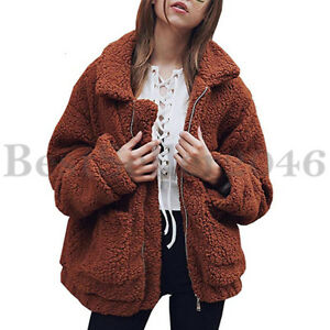 Women Long Sleeve Zip Up Faux Shearling Shaggy Oversize Coat Jacket with Pocket