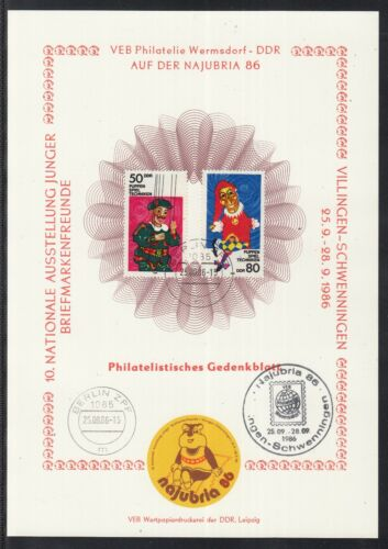 C 24 ) East Germany beautiful Philatelic commemorative sheet 1986 Puppet theater