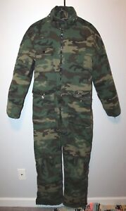 0720ee32d9421 Safety Zone BDU Woodland Camo Hunting Suit SMALL Lined Coveralls ...