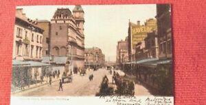 1905-Postcard-Elizabeth-st-Melbourne-horse-carts-trams-havelock-cigarette-advert