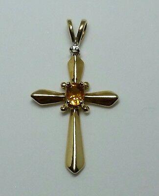 53x30mm Deluxe Big Cross Golden Citrine Ladies Present 925 Silver Pendant