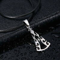 Men's Unisex Stainless Steel Leather Necklace Fire Cross L28
