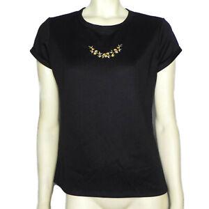 9eba028b7 Vintage Sears Fashions Womens L 12 Shirt Black Floral Embroidered ...