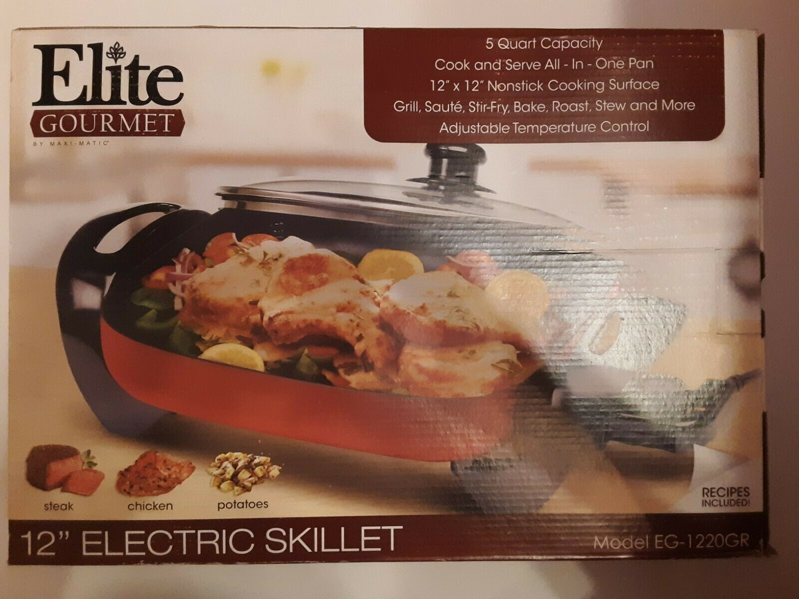 Elite Cuisine EG-1220GR Maxi-Matic 12 Non-Stick Electric Skillet with Glass Lid Red