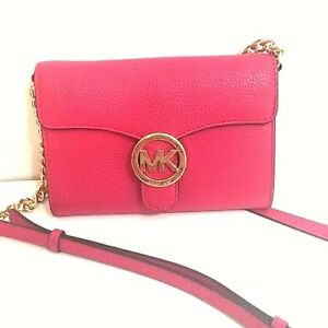 c32328777dc6 MICHAEL KORS Women s  VANNA  LARGE LEATHER Rubin Red PHONE CROSSBODY ...