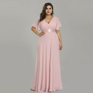 Details about Ever-Pretty Plus Size V-Neck Long Bridesmaid Dresses Wedding  Evening Ball Gowns
