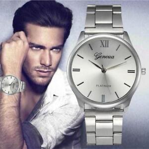 Elegant-montre-Homme-Cadran-Noir-Or-Inox-Acier-Date-Quartz-Montre-Quartz