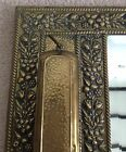Vintage Early C20th Brass Hall Mirror Suit Clothes Brush Floral Relief Antique