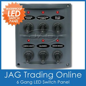 Details about 6 GANG LED TOGGLE SWITCH PANEL 15A Blade Fuses -  Waterproof/Marine/Boat/Caravan