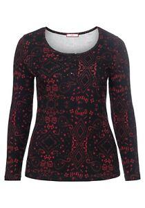 Das Bild wird geladen Sheego-Damen-Langarmshirt-Shirt-Long-sleeve-Bluse-Rot- 67c54ba903