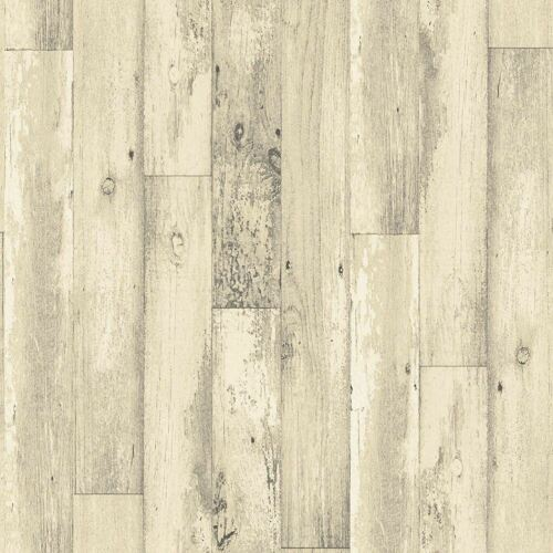 3D Wood Panel Plank Effect Wallpaper Distressed Rustic Cream Paste Wall Galerie