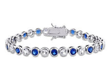Amour Sterling Silver Created Blue and White Sapphire Tennis Bracelet