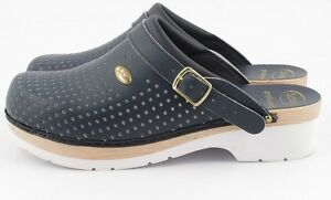53beeec45 Image is loading Clog-Dr-Scholl-supercomfort-Clogs-Wood-Navy-Blue-