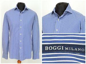 Mens-Boggi-Milano-Long-Sleeve-Shirt-Blue-Striped-Sartoria-Size-L