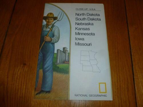 Close up USA KANSAS NEBRASKA National Gegraphic MAP NORTH /& SOUTH DAKOTA