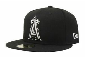 a29dac285f5 New Era 59Fifty Hat Los Angeles Angels Of Anaheim Black White Big ...