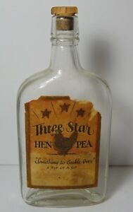 Rare-Old-Antique-Vintage-Three-Star-Hen-Pea-Graphic-Label-Whiskey-Whisky-Bottle