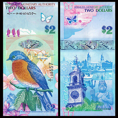 banknotes 2012 P-57b 2009 Lot 10 PCS Bermuda 2 Dollars UNC