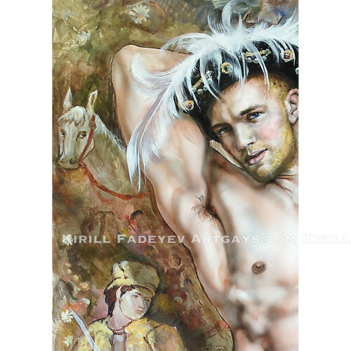 """Kirill Fadeyev authored PRINT /""""YOUNG KING HENRY VIII/"""" 13x19 inch nude gay art"""