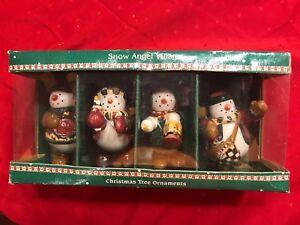 Package-of-4-Sakura-By-Debbie-Mumm-Snow-Angel-Village-Christmas-Ornaments