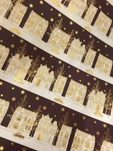 4m 8m 12m 16m PURPLE GOLD MANSION HOUSE WRAPPING PAPER CHRISTMAS PRESENTS NEW