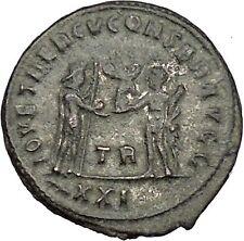 DIOCLETIAN receiving Victory Tripolis mint 285AD Rare  Ancient Roman Coin i51081