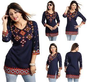 TOP-WOMEN-SHORT-DRESS-PRINTED-INDIAN-KURTI-TOP-TUNIC-3-4-SLEEVES-MI521-BLUE