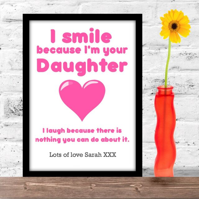 Birthday Gift For Mum Mummy Or Mother From Daughter Personalised A4 Gloss Print