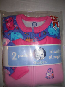 NEW-infant-baby-blanket-sleeper-SIZE-24-M-CATS-footed-fleece-2-pack-T26