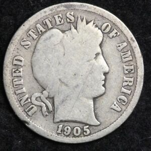 1905-O Silver Barber Dime GOOD FREE SHIPPING
