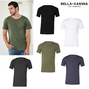 Bella-Canvas-Jersey-Raw-Neck-Tee-3014-Men-039-s-Short-Sleeves-Casual-T-shirt
