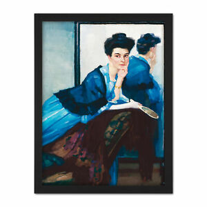 Putz-Woman-In-Blue-Dress-Painting-Large-Framed-Art-Print