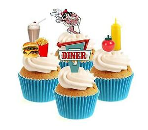 Novelty-American-Diner-Mix-12-Edible-Stand-Up-wafer-paper-cake-toppers-birthday