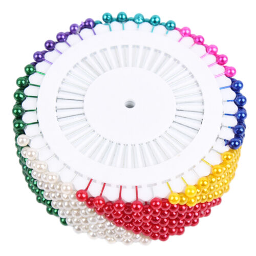 480Pcs Dressmaking Sewing Pin Straight Pins Round Head Color Pearl Corsage、Pop