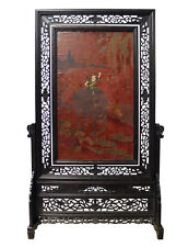 Chinese Lacquer Kid Ox Flowers Drawing Table Top Screen Display cs2444