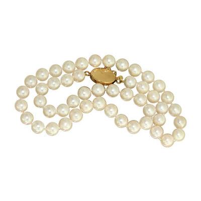 Echte Perlenkette - 42 cm Collier mit Goldverschluss 750 - Halskette 18kt Perle