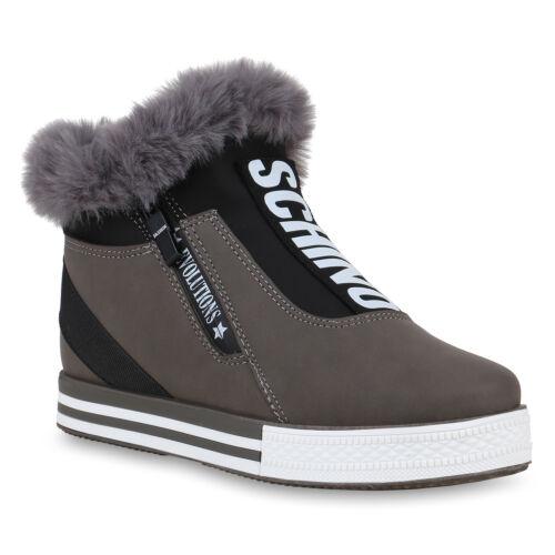Damen Plateau Sneaker Warm Gefütterte Schuhe Kunstfell Turnschuhe 823899 Trendy