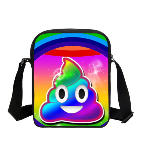 Rainbow Smiling Poop Schoolbag Kids Backpack Insulated Lunch Bag Pencil Case Lot