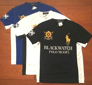 80-POLO-RALPH-LAUREN-MENS-BIG-PONY-ATHLETIC-BLACKWATCH-T-SHIRT-BLUE-BLACK-WHITE