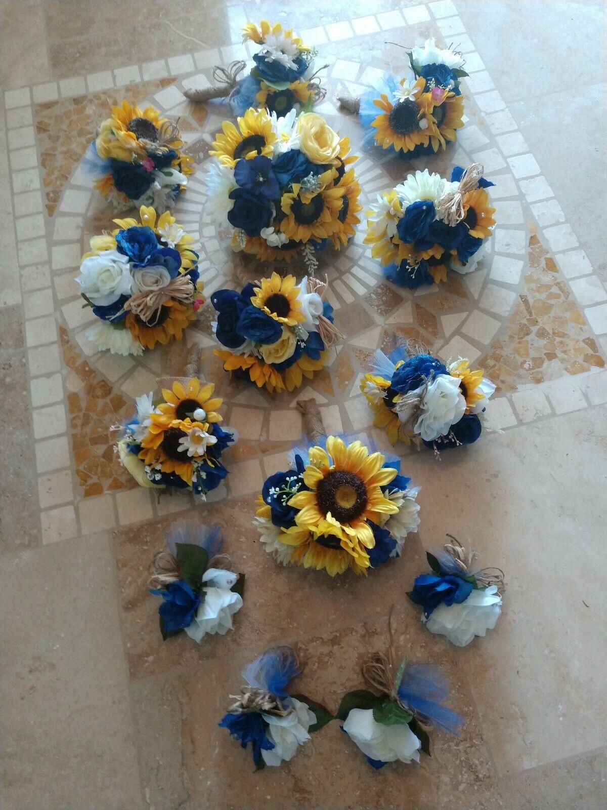 Mariage Fleurs Mariage bouquets décoration TOURNESOLS Navy Royal 10 Bouquet